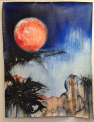 "Blood Moon (lunar eclipse)  2013-2014 oil  60"" x 40"""