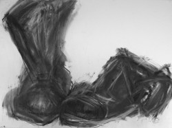"""Empty Working Boots    2013 Charcoal   22"""" x 30"""""""