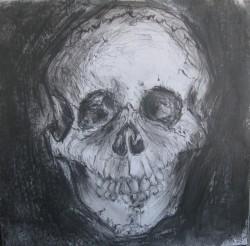 "Skull -  2013 Mixed Media - 8"" x 8"""
