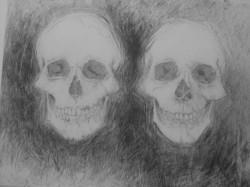 "Two Skulls  -  2013 Graphite - 21"" x  29"""