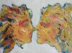 "Me vs.You -  2013 Oil on Masonite - 9"" x 12'"